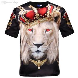 Camisa de compressão masculina s por atacado on-line-Atacado-Nova moda mulheres homens hip hop coroa leão impressão t shirt dos homens 3d compressão t-shirt dos ganhos tshirt homme roupas de marca para homens