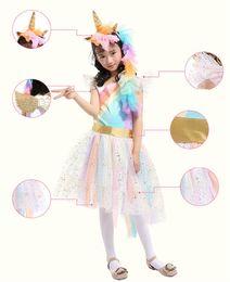 Wholesale short skirt costumes - 4set  Girls' Rainbow Golden Horn Unicorn Skirt wings headband set Costume For Halloween Dress-Up dress performance cosplay costume kids