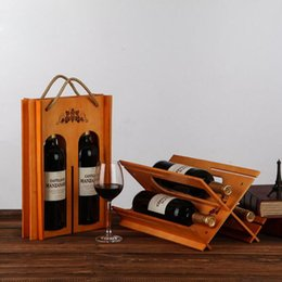 2019 étagère à bouteilles Vintage boîte à vin rouge portable bois porte-vin se pliant plateau étagère cadeau boîte de rangement bouteille barre Accessoires QW8818 étagère à bouteilles pas cher