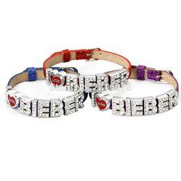 Justin bieber braceletes pulseiras on-line-Justin Bieber Pulseira Pulseiras de Strass Carta de Metal Deslize Charme DIY pulseiras frete grátis