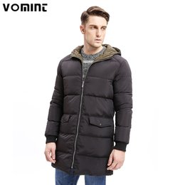 Wholesale Weighted Collar - Vomint 2017 Winter Men Down Hoodie Coat Heavy-weight Zipper 80% Down Warm Long Jackets Solid Color Basic Big Pockets O6WI9273