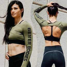 Wholesale Crop Tops Shirts For Women - Womens Print Sexy Fitness Sports Crop Tops For Female Hot Fashion Athleisure Running Long Sleeve Backless Short T-shirts Tees Shirts XL