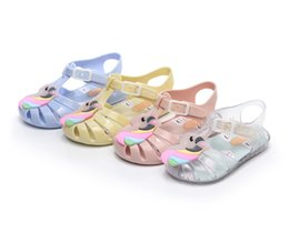 transparent jelly crystals flats Promo Codes - Melissa jelly shoes fashion children cartoon unicorn sandals girls hollow princess sandals kids transparent crystal beach sandals F2339