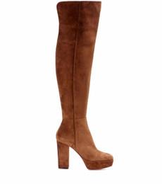Mujeres Marrón Plataforma de gamuza sintética Tacón alto Rodilla Botas altas Damas punta redonda Chunky Heel Botas largas