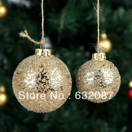 Wholesale glass ball christmas ornaments - Diameter = 8cm Transparent Glass Globe with Gold Glass Chip Decoration Christmas Ball Christmas Day Pendant