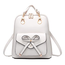 fd06e3eb25f4 2018 New Style Women PU Leather Backpacks For Teenage Girls Bow Candy Color  Feminine Backpack Female Casual School Bags 395