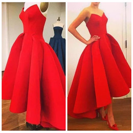 Wholesale Tea Length Puffy Dress - 2018 Sweetheart Hi-Lo Red Prom Dresses With Custom Online Tea Length Puffy Skirt Unique Special Occasion Party Gowns Pleated Formal