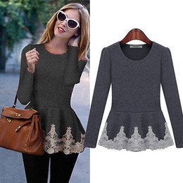 Wholesale Shirt Frill - New Womens Ladies Flared Stretchy Peplum Frill Top Slim Long Sleeve Blouse Shirt