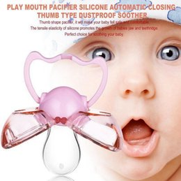 Wholesale Newborn Close - Play Mouth Baby Pacifier Silicone Automatic Closing Thumb Type Dustproof Soother Baby Teeth Soothers 3 Colors OOA3896