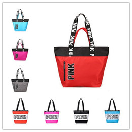 Wholesale Bottled Ships - Pink Printing Waterproof Handbags 9 Styles Shoulder Bags Fashion Shoulder Bag Shopping Bags Letters Beach Travel Bag Totes DHL shipping