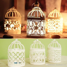 Wholesale Wholesale Metal Lanterns - New Hollow Metal Candlestick Tealight Candle Holder For LED Electronic Lantern Holder Wedding Home Office Table Bird Cage Decoration TY7-277