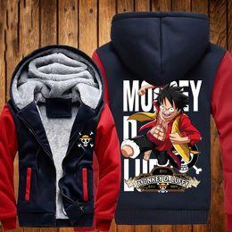 Wholesale Jacket Hoodie Anime Character - Wholesale- 2016 New ONE PIECE Hoodies Anime Monkey D Luffy Hooded Winter cotton Coats Jackets Men Cardigan Sweatshirts