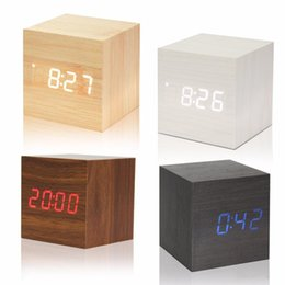 Wholesale Bulb Desk Lamp - LED Alarm Clocks Small Cube Wood Clock LED Mute Bedside Clock Temperature Digital Desk Clock with Sound Control Function for home decor gift