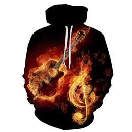 Wholesale Guitar Long Sleeve - 2017 new fashion Cool sweatshirt Hoodies Men women 3D print RockNRoll Guitar Tee hot Style Streetwear Long sleeve clothes
