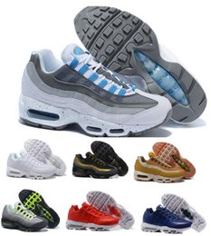Wholesale Fusion Brands - Fusion Air Cushion 95 Running Shoes Sneaker Men Man Grey M 95s OG 20th Surface Breathable Sports Tennis Trainer Zapatos Hombre Brand Shoe