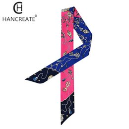 Wholesale Ladies Neck Scarves Wholesale - 2pieces lot silk scarf women summer small neckerchief ladies neck scarves ribbon headband wristband bag handle wraps