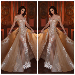 Wholesale Detachable Cap Sleeve - 2018 Off Shoulder Slim Lace Appliques Beaded Prom Dresses Custom Detachable Train Gorgeous See Through Formal Celebrity Party Gowns Formal