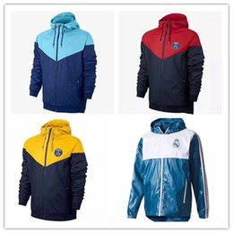 Wholesale softshell men - top quality 2017 2018 real madrid soccer tracksuit Hooded jacket 17 18 KUN AGUERO MESSI NEYMAR JR football hooded Windbreaker jackets