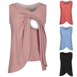 Wholesale Wholesale Breastfeeding Clothes - Pregnancy Maternity Tops Breastfeeding Shirt Nursing Tops Tank For Women Breastfeeding Shirt Clothes 4 Colors LJJO4219