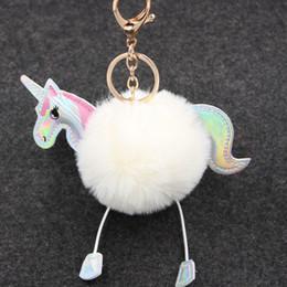 Wholesale Faux Rabbit - Wholesale 15 Color Cute Fluffy Unicorn Keychain Faux Rabbit Fur Ball Pom Pom Key Chains Bag Charms Pony Car Key Ring Accessories