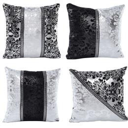 silberne sofa-kissenbezüge Rabatt Vintage Black Silver Floral Kissenbezug Throw Patchwork Kissenbezug Car Sofa Decor Kissenbezug Home Dekorative Kissenbezug