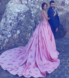 Argentina Hot Pink Vestidos de noche formales 2019 Una línea de encaje de espagueti Apliques Satin Prom Ball Fiesta Vestido Sheer Elegante Celebrity Red Carpet Dres cheap red carpet dreses Suministro