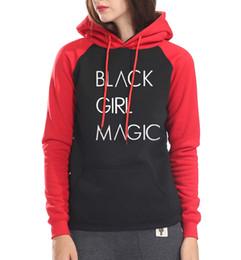 Wholesale Tracksuit Fleece Girls - harajuku raglan sleeve pullover Women 2018 hip-hop fleece sweatshirt BLACK GIRL MAGIC long sleeve hoodies hipster kpop tracksuit