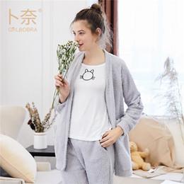 gatinhos de bolso Desconto Grlbobra inverno pijamas de duas peças coreano feminino gatinho bordado bolso ocasional flanela pijamas mulheres