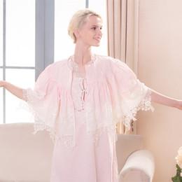 Königliches nachthemd online-Baumwolle Nachthemd Kleid Set Elegante Vintage Nachthemd Royal Sleepwear Kleid Exquisite Stickerei