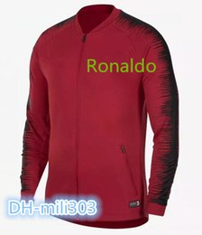 Wholesale Sweater Zip - Best quality 2018 World CupTop RONALDO soccer tracksuit 18-19 PORTUGAL Training suit Mexico Brazil FR football zip jacket sportswear Sweater