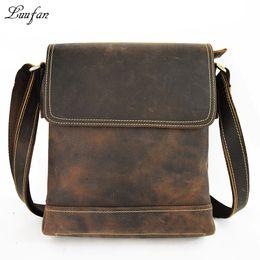 Wholesale Horse Leather Ipad - Men's Crazy horse leather shoulder bag Vintage Genuine leather messenger bag Cow casual iPad cowhide crossbody
