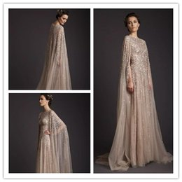 7e77689e6e2d Krikor Jabotian Classic Evening Dresses A-Line Crew Champagne See-Through  Tulle Bridal Gowns Appliques Beads Formal Dress Prom Gown