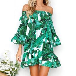 Robes manches trois-quarts en Ligne-Femmes Vert Feuilles Robe D'impression Sexy De L'épaule À Volants Robes Manches Trois Longueur Manche Lâche Robe De Plage #BF