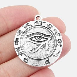 Wholesale antique egyptian jewelry - 5pcs Antique Silver 32mm Round Carved Egyptian Eye of Horus Ra Charms Pendant Beads DIY Jewelry Making Findings
