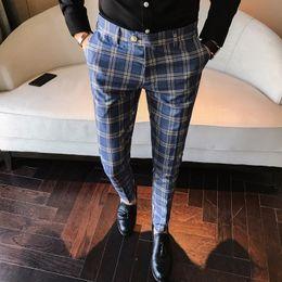 Vestido de hombre Pantalón de tela escocesa Casual de negocios Slim Fit Pantalon A Carreau Homme Clásico Traje a cuadros Vintage Pantalones Pantalones de boda desde fabricantes