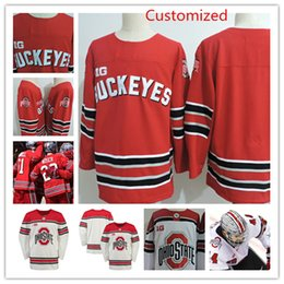 Wholesale College Hockey - Mens custom NCAA Ohio State Buckeyes College Hockey Jerseys Sasha Larocque Mason Jobst Luke Stork Ryan Dzingel Ohio State Buckeyes Jersey