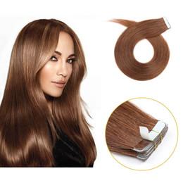 Extensiones de cabello castaño castaño online-cinta superior sin costuras en extensión de cabello cinta de cabello humano real de 22 pulgadas en extensiones # 6 Medium Brown / Chestnut Brown