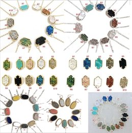 Wholesale Mixed Stones - 10 Styles kendra Druzy Drusy Earrings Scott Necklace Silver Gold Resin Stone Necklaces Can Message Mixed Colors AS U Like to Meet