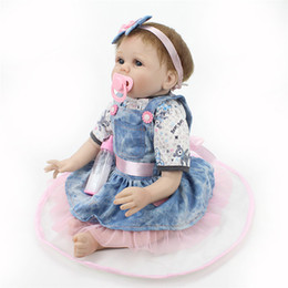 Wholesale 24 Inch Figure - New Style Kids 22 Inch Silicone Baby Dolls Realistic Doll Reborn Gift For Children Playmate Toys With Dress Fast Shipping