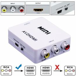 Wholesale tv video adapters - Mini AV to HDMI Converter Composite AV RCA to HDMI Video Converter Adapter Full HD 720 1080p UP Scaler AV2HDMI for HDTV Standard TV Monitor