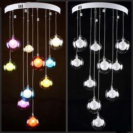 Wholesale Coloured Light Pendants - Modern minimalist restaurant LED living room pendant light bedroom lamp glass ball bubble lamp creative colours ZH ZL326