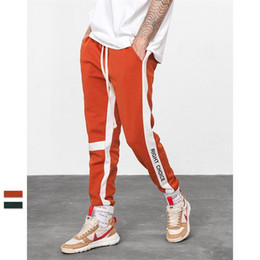 block printed Promo Codes - Men Streetwear Jogger Pants High Quality Cotton Letter Printed Color Block Patchwork Sweatpants Training Sports Pants