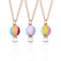 Wholesale Hot Air Balloon Necklaces - Fashion Rainbow 3 Color Enamel Hot Air Balloon Charm Pendant Necklaces For Women Cartoon Gold Balloons Necklaces Jewelry Collares