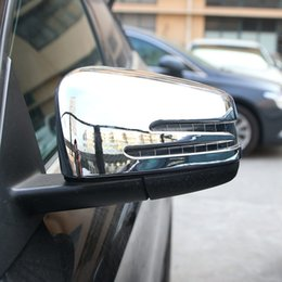 Wholesale side door mirror covers - 2pcs Chrome Polish Side Door Rearview Mirror Frame Cover Trim for Benz A CLA GLA GLK Class 2014-2017 Car Accessory
