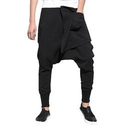 Pantalones con estilo de los hombres de la marca Piernas anchas Pantalones  cruzados de la entrepierna del Harem con cinturón Bolsillos con cordón  Hiphop ... 80987fa639e