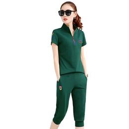 Плюс размер рубашки поло женщин онлайн-Нового лето женщина Tracksuit одежды Set Тонкого Sportwear костюм плюс размера M -4xl женщин 2 шт Набор костюмы рубашка поло + брюки Женского