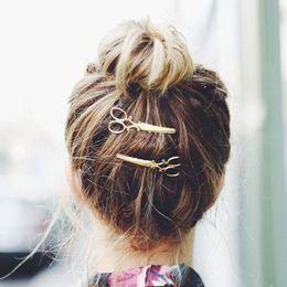 2019 lindas pinzas para el cabello 20pcs Hot Nice Women Lady Girls Scissors Shape Hair Clip Barrettes Hairpin Hair Decorations Accesorios Regalo de Navidad lindas pinzas para el cabello baratos