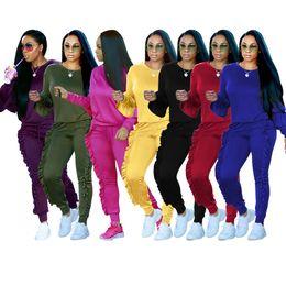 8 Color S-3XL Ruffle Plus Size Women 2 Unids Chándal Sudaderas Pantalones Sudaderas Set Sport Wear Casual Jogging Suit desde fabricantes
