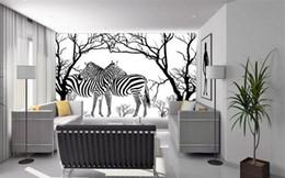 Murais de árvores negras on-line-Sob encomenda da foto papel de parede estéreo grandes murais black white zebra em relevo árvore abstrata sala de estar sofá pano de fundo mural papel de parede