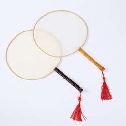 Wholesale Paintings Chinese Silk - DIY Blank White Silk Hand Fans with Handle Student Children Hand Painting Fan Chinese Palace Round Fan gifts wen5520